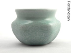 Spiral wave espresso cup in Gloss Celadon Green Porcelain