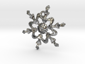Snowflake Flower 1 - 30mm Ha in Fine Detail Polished Silver