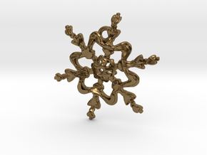 Snowflake Flower 1 - 30mm Ha in Polished Bronze