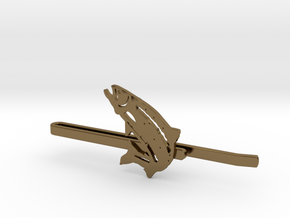 Trout Tie Clip in Polished Bronze