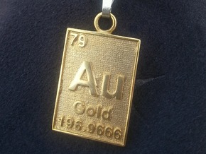 Precious pendants and necklaces shapeways jewelry gold periodic table pendant in 18k gold plated aloadofball Gallery