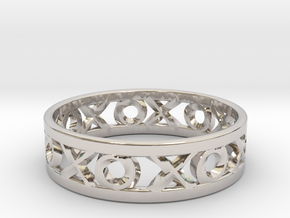 Size 10 Xoxo Ring in Rhodium Plated Brass