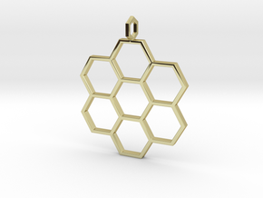 Honeycomb Pendant in 18k Gold Plated Brass