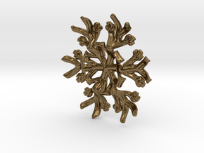 Snowflake Candle Stand 1 - d=60mm in Polished Bronze