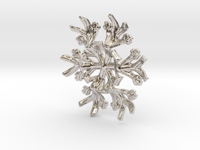 Snowflake Candle Stand 1 - d=60mm in Rhodium Plated Brass