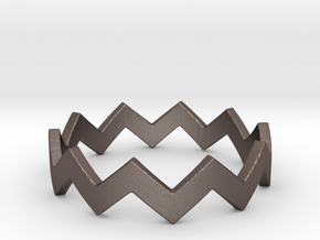 Zig Zag Wave Stackable Ring Size 7 in Polished Bronzed Silver Steel