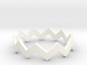 Zig Zag Wave Stackable Ring Size 7 in White Processed Versatile Plastic
