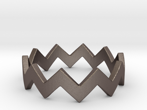 Zig Zag Wave Stackable Ring Size 4 in Polished Bronzed Silver Steel