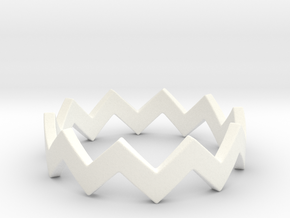 Zig Zag Wave Stackable Ring Size 5 in White Processed Versatile Plastic