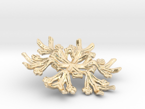 Snowflake Candle Stand - d=70mm in 14k Gold Plated Brass
