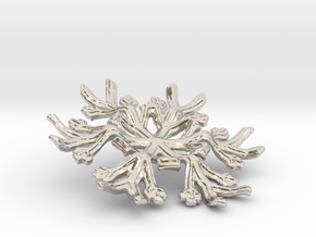 Snowflake Candle Stand - d=70mm in Rhodium Plated Brass