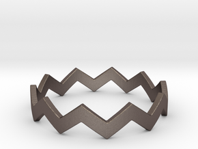 Zig Zag Wave Stackable Ring Size 11 in Polished Bronzed Silver Steel