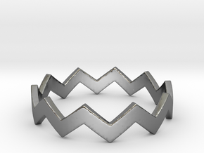 Zig Zag Wave Stackable Ring Size 9 in Fine Detail Polished Silver