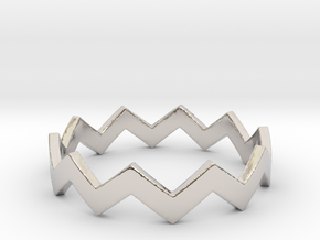 Zig Zag Wave Stackable Ring Size 9 in Rhodium Plated Brass