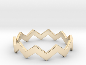Zig Zag Wave Stackable Ring Size 10 in 14K Yellow Gold