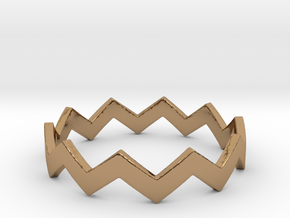 Zig Zag Wave Stackable Ring Size 10 in Polished Brass