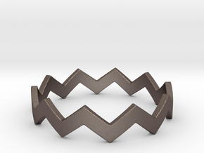 Zig Zag Wave Stackable Ring Size 10 in Polished Bronzed Silver Steel