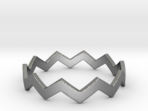 Zig Zag Wave Stackable Ring Size 12 in Fine Detail Polished Silver