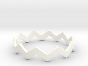 Zig Zag Wave Stackable Ring Size 12 in White Processed Versatile Plastic