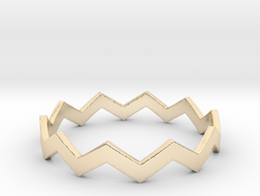 Zig Zag Wave Stackable Ring Size 14 in 14k Gold Plated Brass