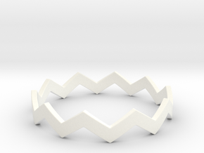 Zig Zag Wave Stackable Ring Size 14 in White Processed Versatile Plastic