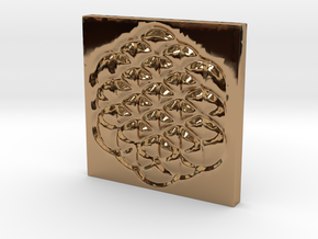 Flower of Life Square Pendant in Polished Brass