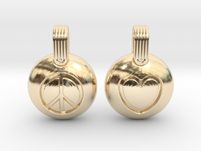 Peace & Love in 14k Gold Plated Brass