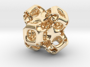 Gyroid Figure in 14k Gold Plated Brass