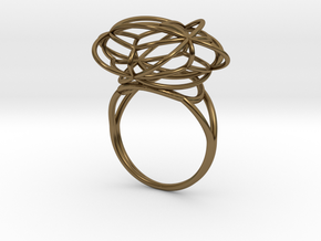 FLOWER OF LIFE Ring Nº2 in Polished Bronze
