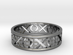 Size 9 Xoxo Ring A in Fine Detail Polished Silver
