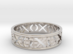 Size 12 Xoxo Ring A in Rhodium Plated Brass