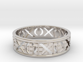 Size 13 Xoxo Ring A in Rhodium Plated Brass