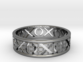 Size 13 Xoxo Ring A in Fine Detail Polished Silver