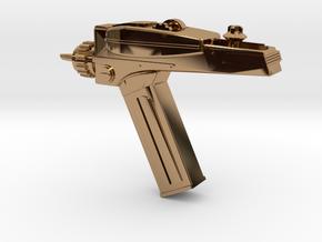 Star Trek Phaser Keychain in Polished Brass
