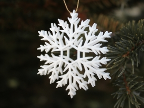 Snowflake ornament- 6cm in White Natural Versatile Plastic