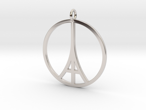 Paris Peace Pendant in Rhodium Plated Brass