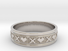 Size 13 Xoxo Ring B in Rhodium Plated Brass