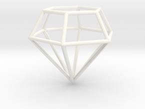 Diamond Frame Pendant in White Processed Versatile Plastic