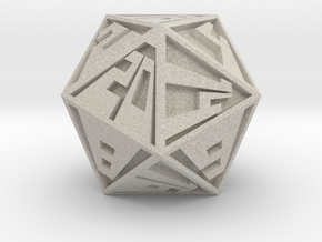 Vanishing Point d20, Solid in Natural Sandstone