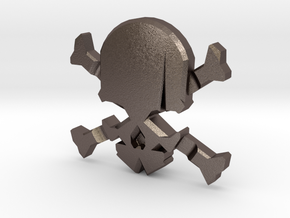 NEW! Skull & Bones NUT, for M6 x1 Screw in Polished Bronzed Silver Steel