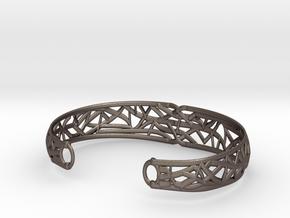 Radici Bracelet, Open, S 55 mm in Polished Bronzed Silver Steel