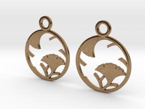 Japanese Crest Earrings in Natural Brass