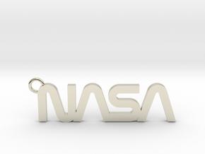 Nasa Keychain in 14k White Gold