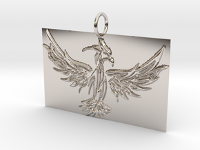 Square Phoenix Pendant in Rhodium Plated Brass