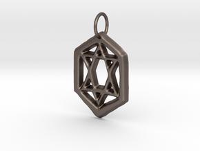 Jewish Star in Polished Bronzed Silver Steel