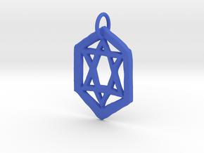 Jewish Star Keychain in Blue Processed Versatile Plastic