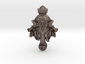 "Ganesha -""Wishing Elephant"" The god of wealth in Polished Bronzed Silver Steel"