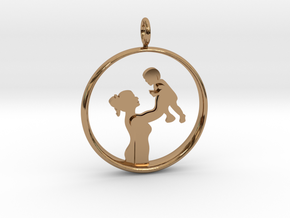 Mother & Son Pendant 1 -Motherhood Collection in Polished Brass