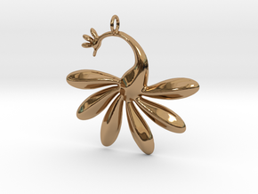 Peacock Pendant in Polished Brass
