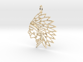 Tribal Chief Pendant in 14k Gold Plated Brass